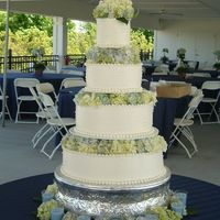 Blue Hydrangeas (Michele's Cake)  Four tier Wedding cake. 16-12-8-5 inch tiers separated with spacers for fresh hydrangeas to fill in between each tier. Very small dot...
