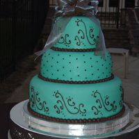 "Brazilian Bride's Dream (Fabiola's Cake)  Three tier stacked 12""-9""-6"" wedding cake. Covered in Aqua tinted rolled fondant. Patterned scrolls on bottom and top tiers..."