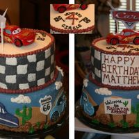 Disney Cars Lightning Mcqueen cake for a 4yr old b-day party. All buttercream with plastic lightning mcqueen and car on top. Thanks to CC'ers for...