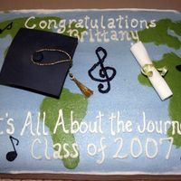 Music Major graduation cake for a music major. buttercream with fondant cap and certificate. The theme matched the napkins.