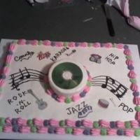 "Musical Bday  This cake is a full sheet topped with a single layer 6"" round for theCD Base. The icing is all BC. I'm not the most talented MF..."