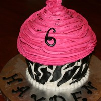 Giant Cupcake   Zebra print..MMF and Buttercream