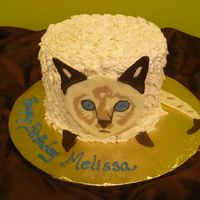 Cat B'day Cake  This was for a lady who really loved her cat and her parents thought this would be cute for her. Cat face & tail was hand done in...