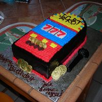 Slot Machine Slot machine cake for my friend's mom who loves to play. The cake is dark chocolate with chocolate pudding and chocolate chips. The...