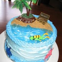 Summer Beach Cake BC frosting, piping gel (water), vanilla wafers, brown sugar and butter (sand)