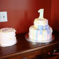 First Birthday Fondant cake as well as the cake that the little one could rip into!!