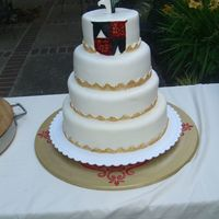 "Ordination Cake I made this and a ""basket with loaves and fishes cake"" for a friend's ordination. He is a Dominican so the shield represents..."