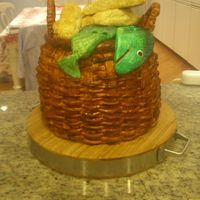 "Basket With Loaves And Fishes I made this for a friend who was just ordained a priest...hence ""loaves and fishes"" for a symbolic cake. I am ashamed to say that..."