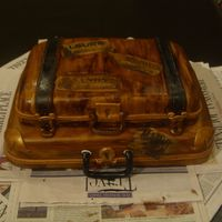 "Suitcase I made this for my husband's work...to save money they are having a ""goodbye"" and ""hello"" party for FIVE employees..."