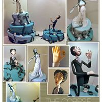 "The Corpse Bride Cake  This wedding cake was inspired on the movie ""The Corpse Bride"", represents the engagement moment between Emily and Ví..."