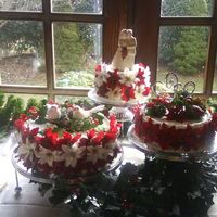Poinsettia Wedding Cake  This cake is 3 tiers, 6 for top 8 for middle and 10 for the bottom with white whipped icing. Poinsettias are white and burgundy/red and are...