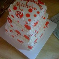 "Fresno State Graduation Cake The picture is taken from a generous angle. 10, 8, 6"" square cakes. From this angle cake looked awesome. MMF, MMF red polka dots (I..."