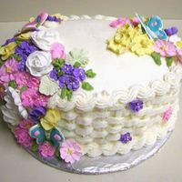 Course Ii Finale Cake This is my Finale Cake for the Wilton Course II class. The butterflies are colorflow. The flowers are royal icing. The basketweave and...
