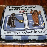 A Long Story...  My husband's birthday cake. We have a son named Luke; therefore, he was darth vadar. My bubby plays tennis with my brother who is...