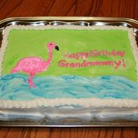 Pink Flamingo!   Quick cake for my mother-in-law. White with buttercream