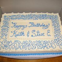 "Guy's Birthday Cake 1/2 sheet spice cake with BC icing. The ""monthly"" cake I made for my husband's work. It is a construction company so they..."