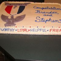 Graduation To Eagle Scout This was a full sheet cake made for a friend's son who was graduating Eagle Scout. The cake was 1/2 chocolate and 1/2 yellow with BC...