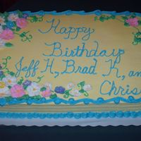 Birthday Cake For Monthly Cake Order Half chocolate/half yellow with buttercream icing, this is just one I do for my husbands monthly work birthdays. The flowers were royal.