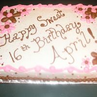 Sweet 16Th Birthday Cake Yellow cake with buttercream icing. The family had a brown/pink theme for their party so we carried it over to the cake. Thanks for looking...