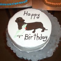 25Th Birthday Cake This is a BCT of a mini daschund and a cockateil i made for my bf for his 25th birthday. it is a choclate cake w/ mint chocolate chip ice...