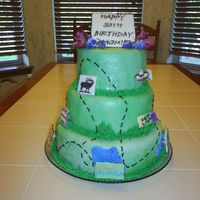 Mom's Favorite Places I did this for my mom's surprise 50th Birthday party. She loves to travel, so I did a traveling cake with chocolate transfers of her...