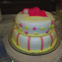 Baby Shower Cake Did this for my best friend's baby shower. This was a last minute creation, because the cake I'd baked for the pillow that I...