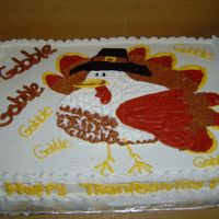Gobble Gobble   Turkey 1/2 sheet buttercream icing, design drawn from a placemat design