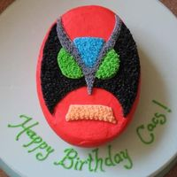 Strongbad  This is a character from a Homestarrunner.com cartoon. My sister loves that site..it was her 21st birthday. She got a kick out of the cake...