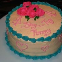 "Wilton Course 1 Cake   My first attempt at the Wilton Rose. I ended up making it a joke cake for my ""Boy Toy Timmy"""