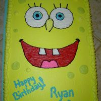 Sponge Bob Square Pants   1/2 sheet cake, buttercream icing, no pants per mom-she thinks it is too creepy.