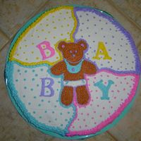 "Teddy Bear Shower Cookie cookie on a 12"" board, design from the paper goods for the shower."