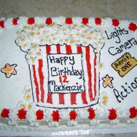 Popcorn And A Movie   1/2 sheet with buttercream, movie themed birthday party, made to match the invitation and party decorations.