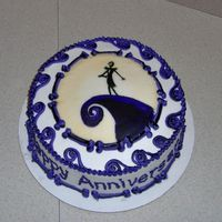 Nightmare Before Christmas Anniversary Cake   handpainted on MMF design, BC frosting and purple and black striped accents. Made for a friend, hope they like it!