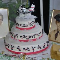 "50Th Anniversary Cake I made this cake for my aunt and uncle's 50th wedding anniversary. It's all MMF, swirls are BC. The tiers are 6"", 10"",..."