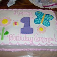 1St Birthday Cake Taken from the party invitation. Bc with MMF decorations. The butterfly and other accents are decorated using watered down color gels.