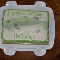 "Big Bass Fish Cake 9x13"" white cake with MMF Bass fish on the top, iced in BC. Made for my wonderful boyfriend's 21st birthday :o)"