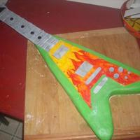 Electric Guitar This is a photo before I put the 'strings' on. I used royal icing to pipe the strings, covered in fondant/fondant accents. I...