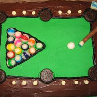 "Pool Table Green ""felt"" is bc, brown is canned chocolate frosting. Pool balls are gumballs dipped in white chocolate. Holes are mini..."