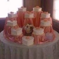 10 Years --- Vow Renewal 10 heart shaped cakes, 5 different flavors, handmade peach roses