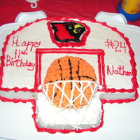 Louisville Cardinals Backboard Cake   All buttercream icing with a brownie shaped ball on top.