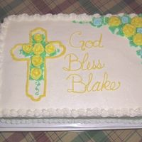 Baby's Baptism All bc decorations. Strawberry filled 1/2 sheet cake.