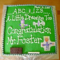 Chaulkboard Cake I made this cake for a 1st grade teacher. Chocolate cake w/ almond buttercream frosting.