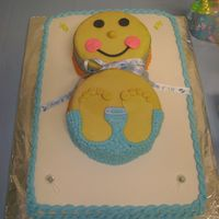Baby Shower 1st attempt @ a baby cake. Baby is not greenish, camera setting was not correct.