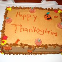 Thanksgiving Cake By 8 Year Old My 8 year old niece decorated this without my help. She designed it, picked the colours and voila!! I think she is a natural!