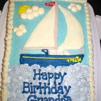 Happy Birthday Grandpa Grandpa loves to sail and my mom asked me to make a cake with a sailboat...wasn't too sure where I was going with it when I started!...