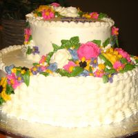 Bridal Shower Cake I saw another cake I really liked with the two layers. All I did was add spring flowers.