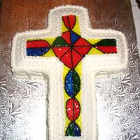 Cross This was a wilton cross pan and I followed the instructions to do the stained glass...I love how clear Wilton instructions are!