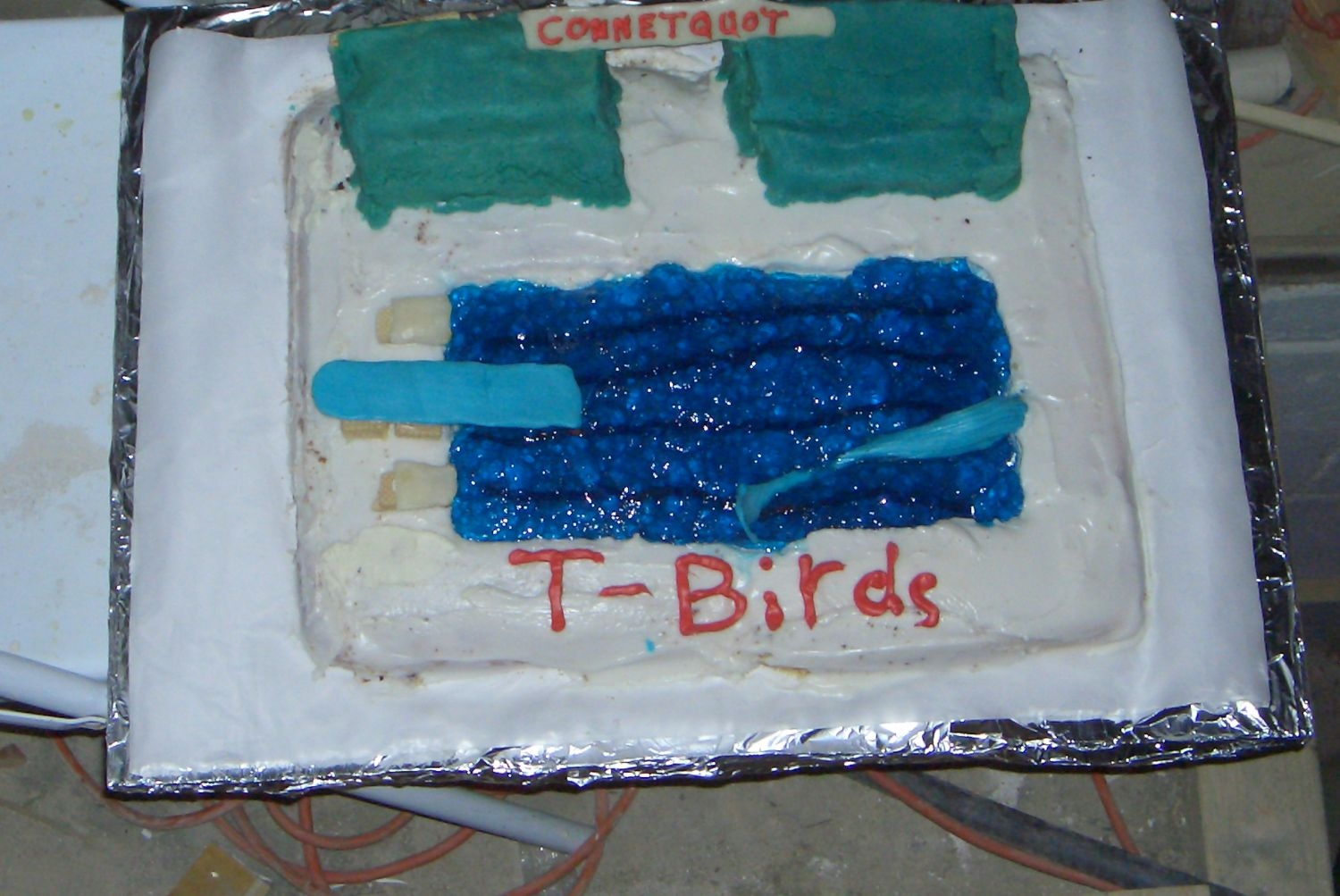 End Of The Season Swimming Cake.  White cake with vanilla icing, brownie bleackers covered in almond paste, pulled sugar whale, diving board, blocks, and connetquot sign,...