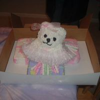 Teddy With Presents   A birthday cake for a little girl. A ballerina teddy on presents.