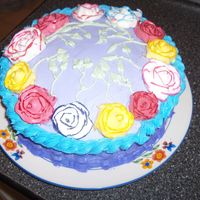 Firts Attempt At Roses, Basketweave, And Rope All In One Cake